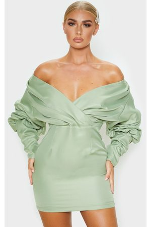 PRETTYLITTLETHING Women Bodycon Dresses - Sage Off The Shoulder Ruched Bodycon Dress