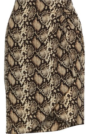 NILI LOTAN Woman Hazel Wrap-effect Snake-print Silk Crepe De Chine Mini Skirt Animal Print Size 0