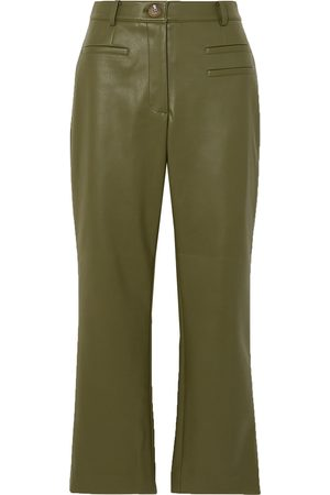 REJINA PYO Women Skinny Trousers - Woman Finley Cropped Cotton And Silk-blend Slim-fit Pants Army Size 10