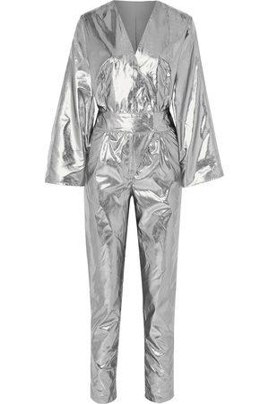 Stand Studio Woman + Pernille Teisbaek Amiya Metallic Faux Leather Jumpsuit Size 32