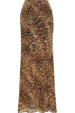 NILI LOTAN Woman Ella Leopard-print Silk-chiffon Maxi Skirt Animal Print Size 0