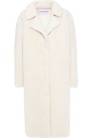 Stand Studio Woman Oversized Faux Shearling Coat Cream Size 40