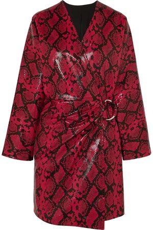 Stand Studio Woman + Pernille Teisbaek Antonia Snake-effect Faux Leather Mini Dress Claret Size 34