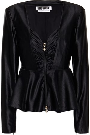 ROTATE Woman Annie Ruched Satin Blouse Size 34