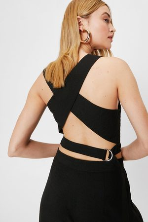 NASTY GAL Womens Tailored Crossover Crew Neck Crop Top