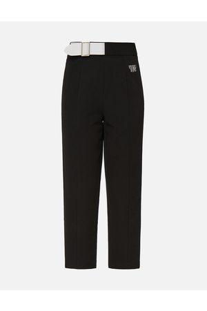 Evisu Women Trousers - Partial Leather Buckle Belt Cropped Straight Fit Pants
