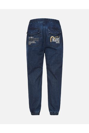 Evisu Women Straight - Cast Shadow Effect Logo Embroidered Cropped Straight Fit Jeans