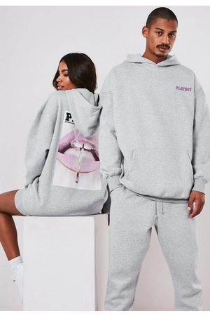 Missguided Playboy X Oversized Lip Print Hoodie