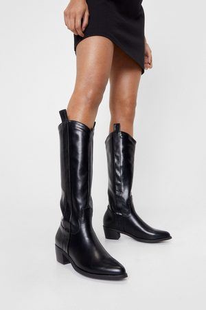 NASTY GAL Womens Faux Leather Western Knee High Boots