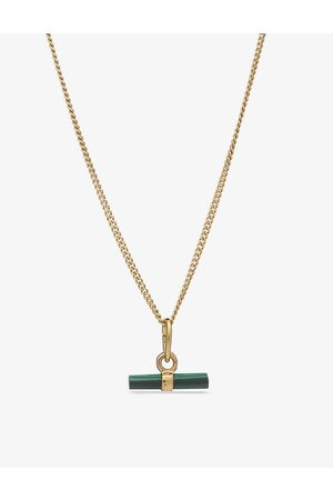 Rachel Jackson Mini T-bar 22ct -plated silver and malachite necklace
