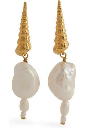 Anni Lu Plated and Pearl Turret Shell Earrings