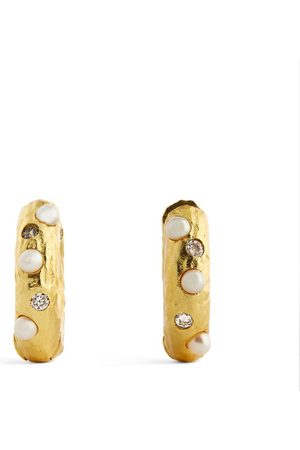 Anni Lu Yellow -Plated and Pearl Gem in a Hoop Earrings