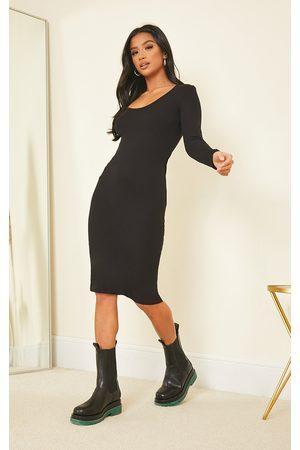 PRETTYLITTLETHING Petite Long Sleeve Jersey Midi Dress