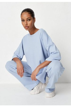 Missguided Women Wide Leg Trousers - Rib T Shirt And Wide Leg Trousers Co Ord Set