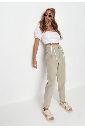 Missguided Women Trousers - Khaki Tailored Cigarette Trousers