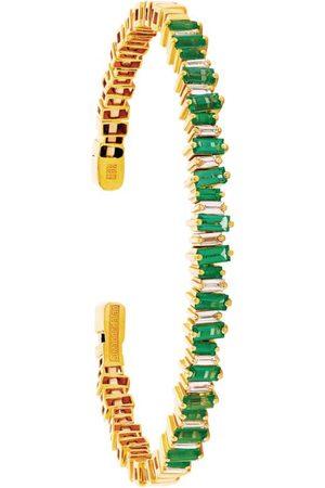 Suzanne Kalan Yellow Gold, Diamond and Emerald Fireworks Bangle