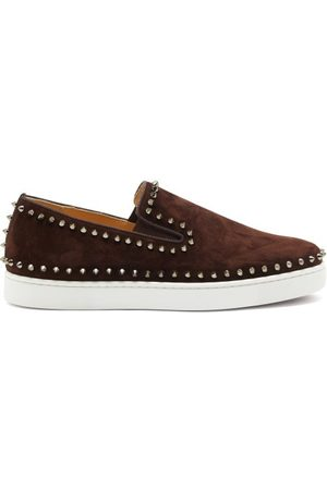 Christian Louboutin Men Casual Shoes - Pik Boat Spike-embellished Slip-on Suede Trainers - Mens - Dark