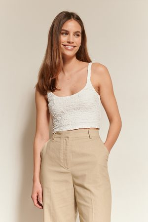 NA-KD Textured Cropped Top - White