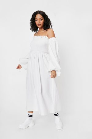 NASTY GAL Womens Plus Size Off the Shoulder Linen Look Midi Dress