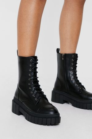 NASTY GAL Womens Faux Leather Lace Up Wellie Biker Boots