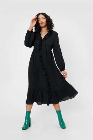 NASTY GAL Womens Plus Size Ruffle Front Midi Dress