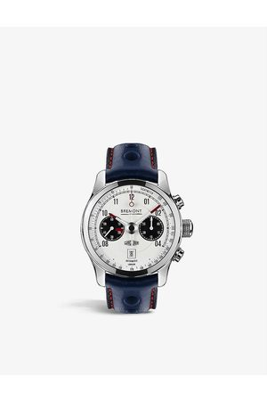 Bremont J-MKII-WH-R-S Jaguar MKII stainless-steel and leather automatic watch