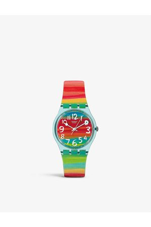 Swatch Colour The Sky stainless steel and rubber watch