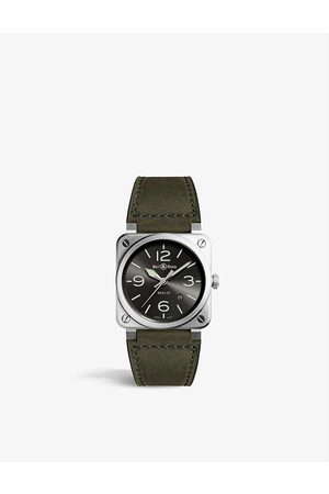 Bell & Ross BR0392 GC3 ST SCA stainless steel and leather watch