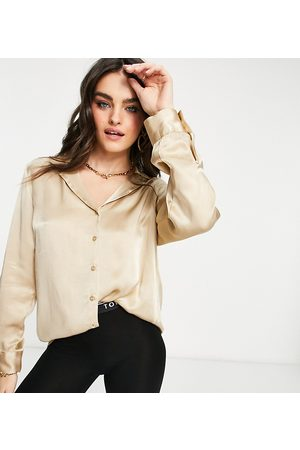 Ghost Satin long sleeved shirt co ord with cuff detail in cream