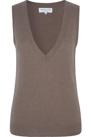 Rosemunde Women Singlets - Laica Wool / Cashmere Vest - Dark Sand Shimmer Blend