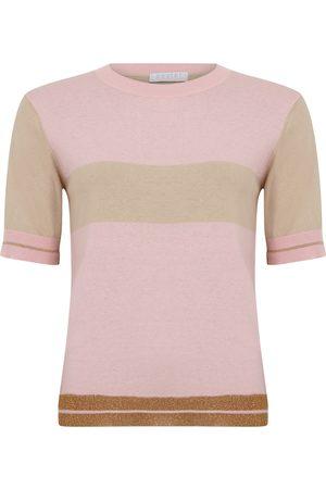 Coster Copenhagen Women Tops - Short Sleeve Lurex Rib Knit - Persian