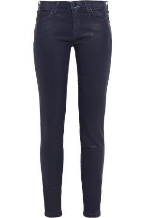 7 for all Mankind Women Slim - Woman Coated Mid-rise Slim-leg Jeans Dark Denim Size 26