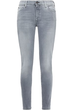 7 for all Mankind Women Skinny - Woman Mid-rise Skinny Jeans Gray Size 28