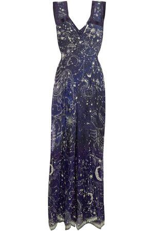 Camilla Woman Crystal-embellished Printed Silk-chiffon Jumpsuit Navy Size S
