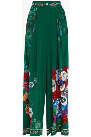 Camilla Woman Emeralds Orbit Embellished Printed Silk Crepe De Chine Wide-leg Pants Emerald Size S