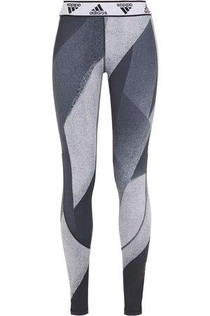 adidas Woman Metallic-trimmed Printed Stretch Leggings Dark Gray Size L