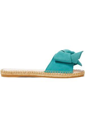 MANEBÍ Manebí Woman Hamptons Bow-embellished Suede Espadrille Slides Teal Size 37