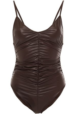 Lisa Marie Fernandez Woman Coated Ruched Stretch-cotton Jersey Swimsuit Dark Size 1
