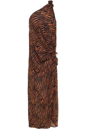 Lisa Marie Fernandez Woman Zerina One-shoulder Knotted Tiger-print Cotton-gauze Maxi Dress Animal Print Size 0