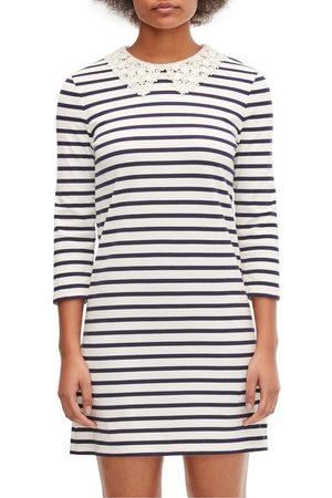 Kate Spade Lace Collar Striped Tee Dress