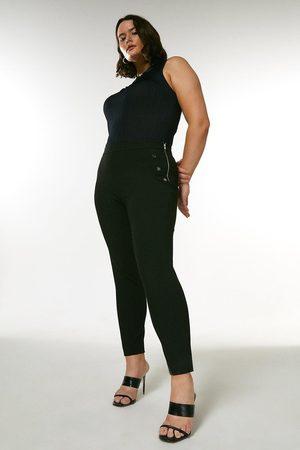 Karen Millen UK & IE Women Trousers - Karen Millen Curve City Stretch Twill Button Side Trouser