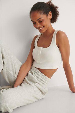Trendyol Women Crop Tops - Button Detail Crop Top - Offwhite
