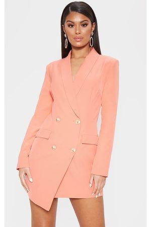 PrettyLittleThing Coral Gold Button Blazer Dress