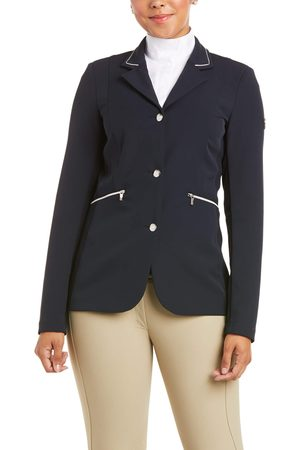 Ariat Women Leather Jackets - Women's Galatea Asteri Show Coat Long Sleeve in Show Navy Leather