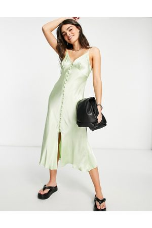 Ghost Maddison sleeveless satin slip dress with button detail in mint