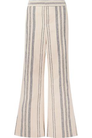 MONSE Women Wide Leg Trousers - Woman Striped Cotton And Linen-blend Wide-leg Pants Ecru Size 0