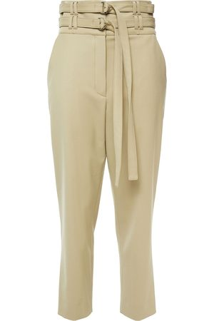 Proenza Schouler Woman Belted Wool-blend Twill Tapered Pants Sage Size 0