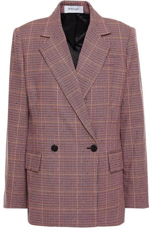 Derek Lam Woman Double-breasted Sequin-embellished Prince Of Wales Checked Woven Blazer Lilac Size 4