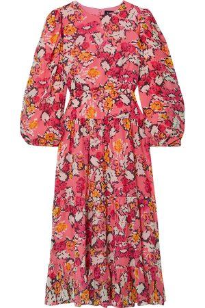 SALONI Women Printed Dresses - Woman Isabel Floral-print Silk-georgette Midi Dress Bubblegum Size 10