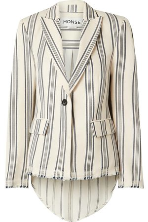 MONSE Women Blazers - Woman Paneled Striped Cotton-blend Canvas And Linen-blend Blazer Ivory Size 10